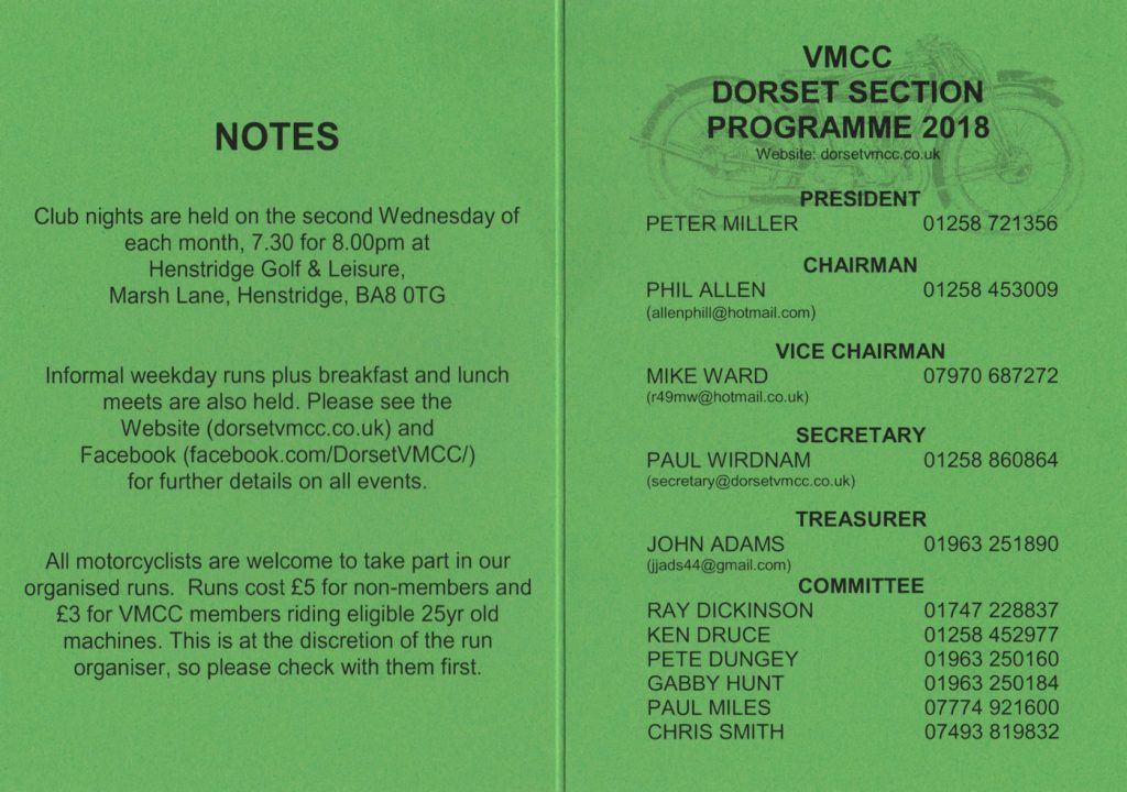 VMCC Dorset Section Programme 2018 Page 1 of 2