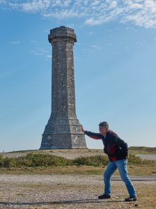 Our Chairman doing a sterling job propping up Hardy's Monument.