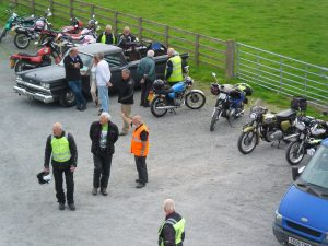 Aerial view of some bikes parked at a coffee stop