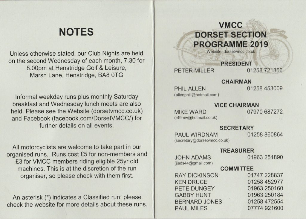 VMCC Dorset Section Programme 2019 Page 1 of 2
